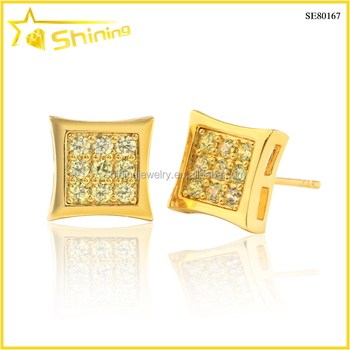 hip hop mens gold cz iced out earrings