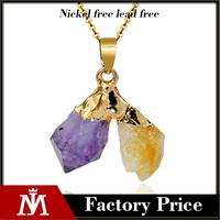 Women's Natural stone jewelry Druzy Quartz Purple Yellow Crystal Pendant