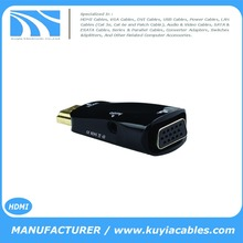 HDMI Male To VGA Female Converter Adapter With Audio Cable For PC HDTV + 3.5mm AV Audio Cable For PC Black