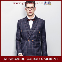 Cheap Custom Grid Double Breasted Mens 3 Piece Wedding Suits