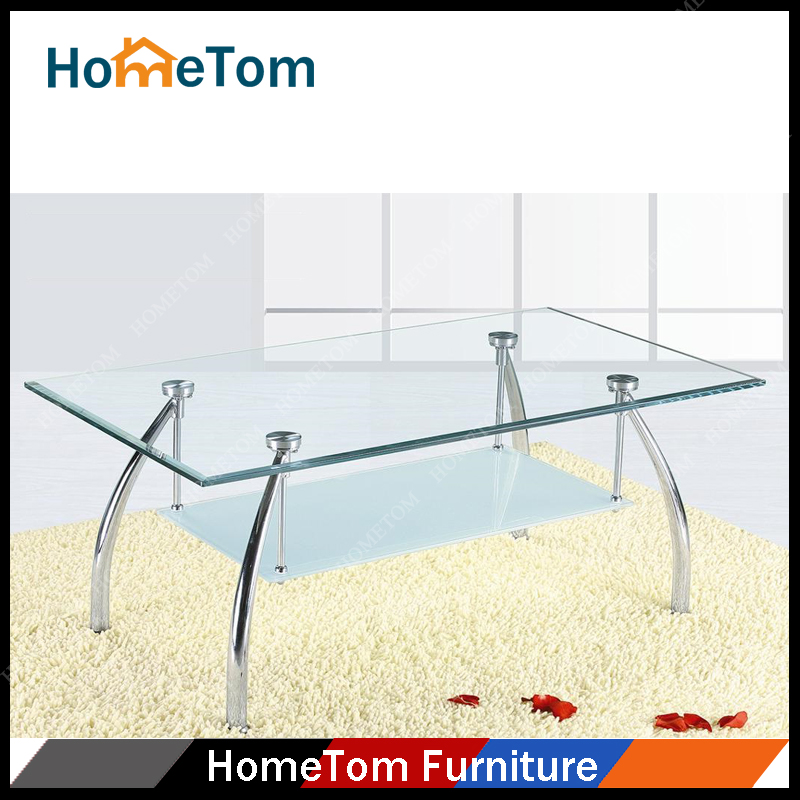 China-made Tempered Glass Top Office Tea Tables with Shelf Wholesale