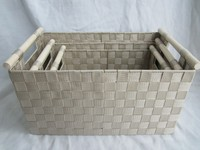c Nylon strape rectangle storage basket with wooden handles , nested set 3, beige color