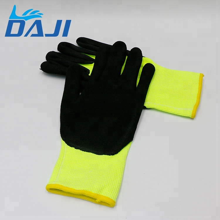 Free sample nylon sandy nitrile work industry gloves