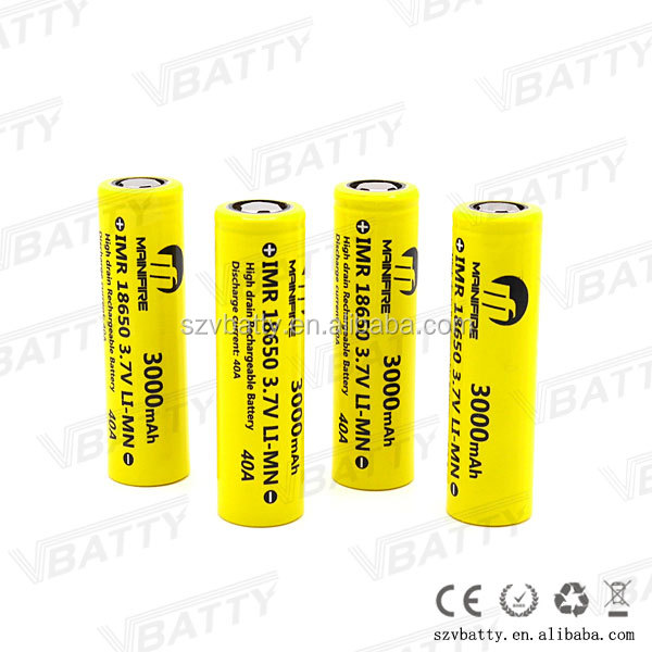 China lithium-ion batteries manufacturer 3.7 Volt Rechargeable battery 3000mah e cig mods battery