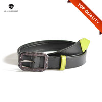 2.8cm Black Stitched Genuine Leather Women Jeans Belt