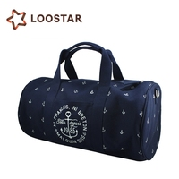 Hot Selling Fancy Round Canvas Weekender Duffel Bag Luggage Pop Custom Travel Duffel Bag for Women Blue Color 2015