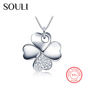 Handmade Diamond Women Jewelry 925 Sterling Silver Four Leaf Clover Flower Necklace