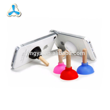 Wholesale mini toilet plunger type silicone mobile phone holder,phone stand