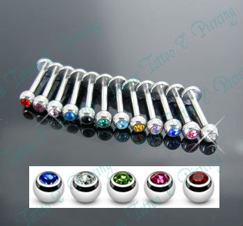 Mixed Color stone crystal Labret piercing Labret Ring 316L Surgical steel Fashion body jewelry