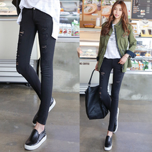 Europe and America autumn trendy women casual pants korean high elastic fancy hole beggar black jeans for ladies