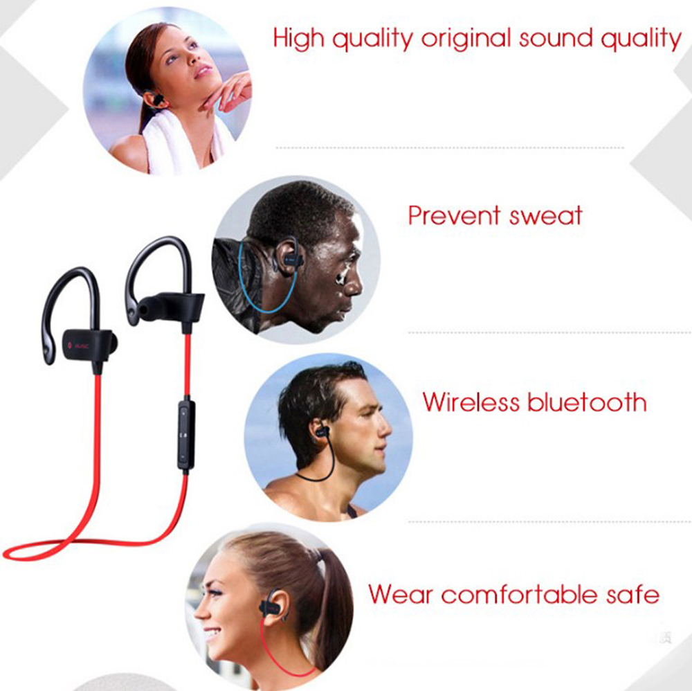 Sport Running Bluetooth Headphones Comfortable Earhook Wireless Hd Stereo Sound