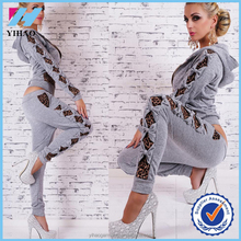 2017 wholesale high quality cheap Custom Printed leopard print sexy plain sweat suits hoodies