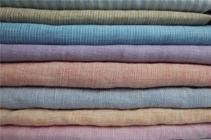 soft washed yarn dyed linen fabric for shirt