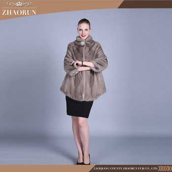 Lady Winter Mink Fur Coat Agraffe Buckle Closure Woman Mink Fur Overcoat