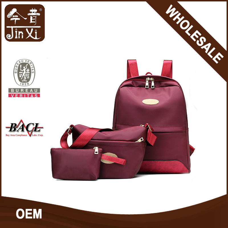 Fashion oxford waterproof backpack set 3 pcs backpack,crossbody bag purse