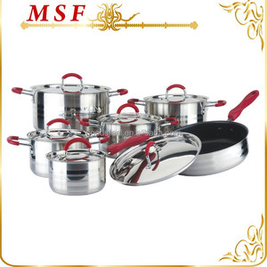 Red bakelite handle straight shape body stainless steel copper cookware
