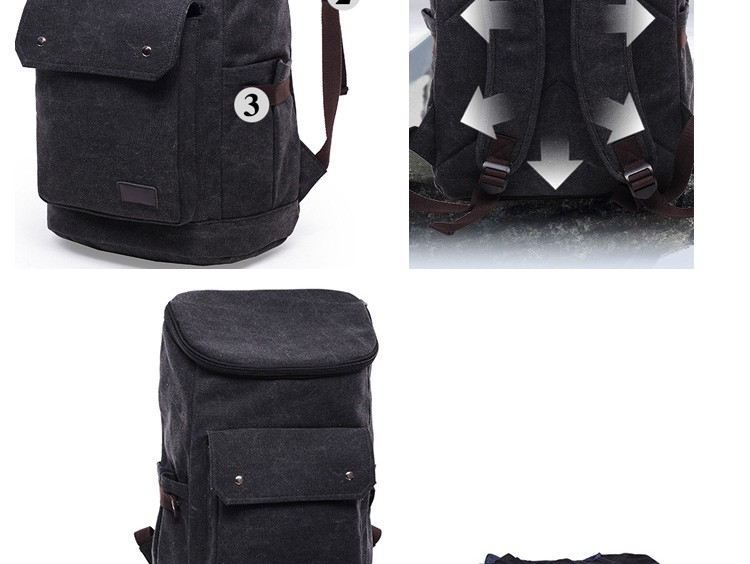 Guangzhou Manufacturer Large Size Durable Black Canvas Travel Rucksack Vintage Canvas School Backpack