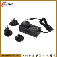 36-48W series interchangeable plug power adapter USA Euro AUS UK type chager 12V 3A 3.5A 4A adapor CB UL FCC CE BS1363 SAA C-tic