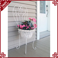 Beatiful white iron & wicker craft wedding decoration flower stand designs