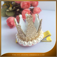 High quality fabric baby crown jewelry candy color pearl kids hair accessory