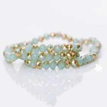 Faceted Rondelle Glass Beads Factory Opaque Jade Color
