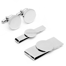 High End Personalized Gift Laser Engraving Blanks Men Accessories Jewelry Stainless Steel Cufflinks and Tie Bar Money Clip Set