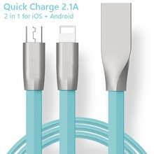 China Manufacturer Custom logo Zinc Alloy Metal 2 in 1 Fast Flash Quick charge 2.1A Android phone USB cable for iOS iphone ipad
