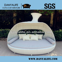 DYBED-D1227,Wicker Garden Patio Sun Bed,Rattan Outdoor Leisure Double Daybed,Cane Swimming Pool Lounger Bed,Round Beach Sun Bed