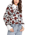 Fashion Long Sleeve Floral Pattern V Neck Collar Wholesale Blouse Thailand
