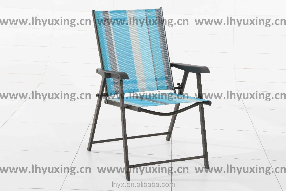 Deluxe Patio Folding Sling Chair with Plastic Arm