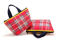 school style red plaid nylon ice cream cooler bag, mini summer portable yogurt cooler pouch