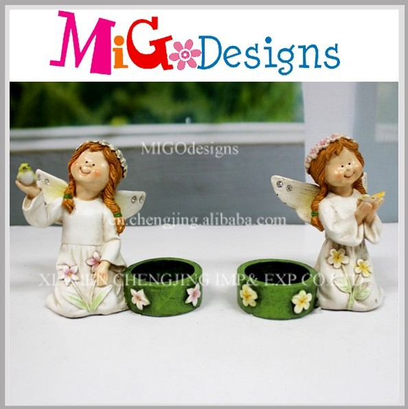 Custom New Product Resin Angel Figurines Wholesale With Candleholder