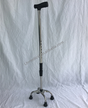 Height adjustable scalable walking sticks for disabled with 4 feet
