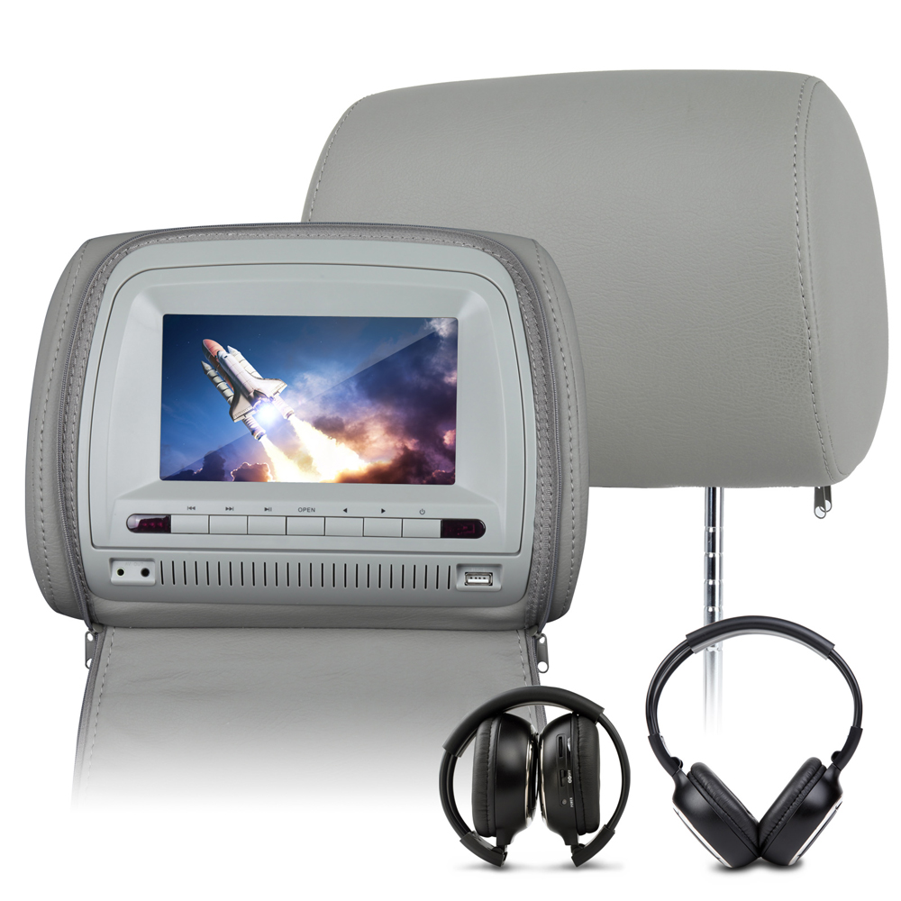"EononC1067 2x7"" HD Digital Screen Grey Color Headrest DVD player With Zipper Cover(+Free IR Headphones included)"