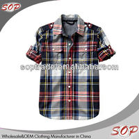 China wholesale clothing for boys fancy oxford plaid dress shirts kids shirts