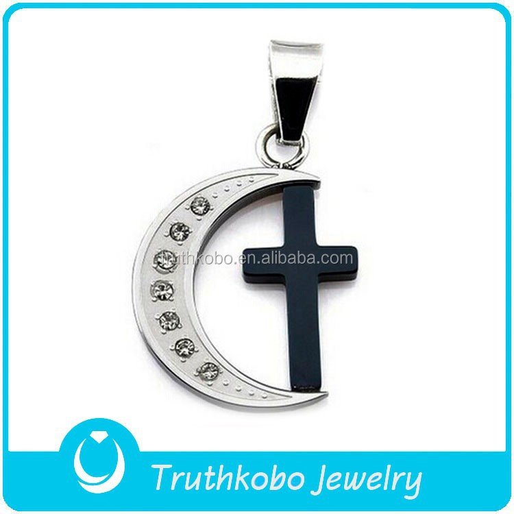 Shiny Polishing Unisex Custom Designs 316L Stainless Steel Bengal Cross Black Pendant in Crystal Moon