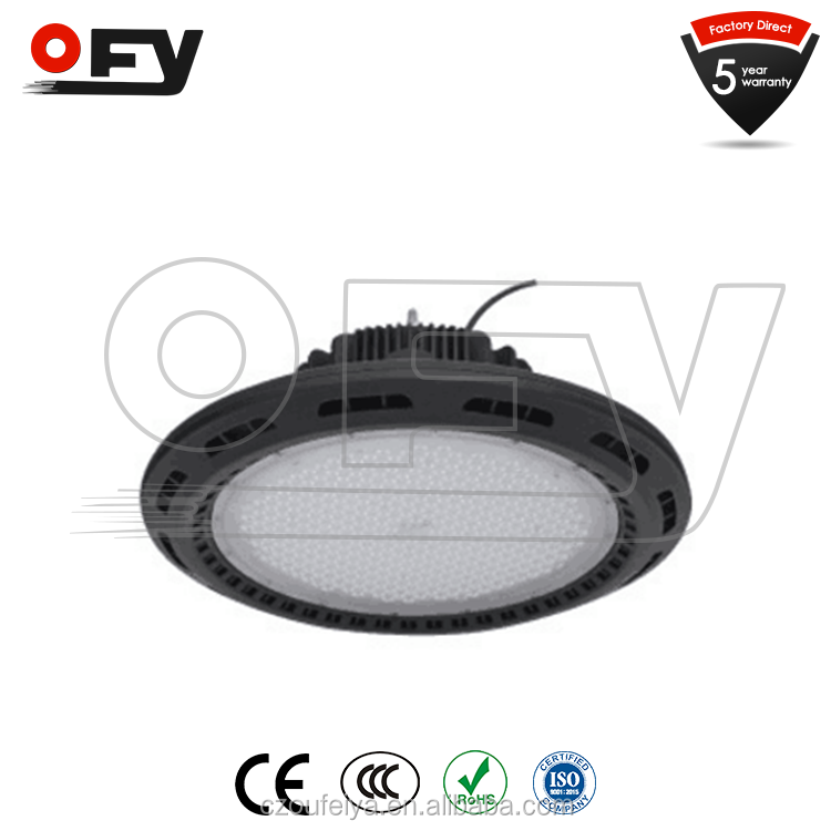 High lumen 100w to 200w ufo led high bay light for warehouse 5 years warranty