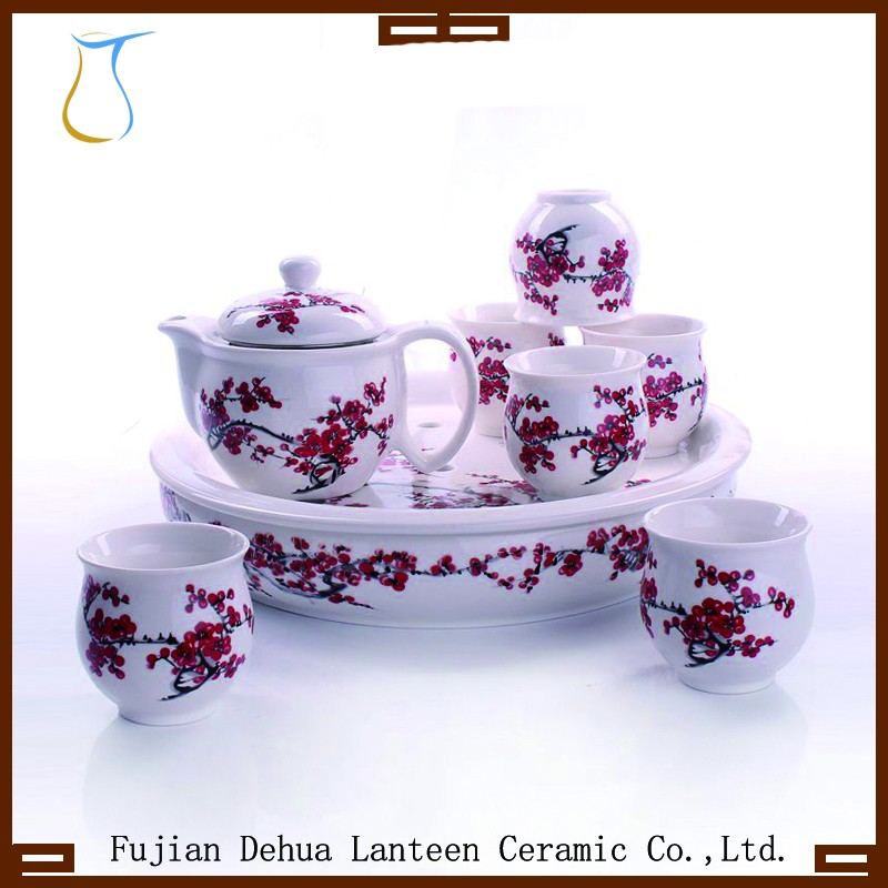 Good quality&promotional heat resistant double wall ceramic cup tea set with tray
