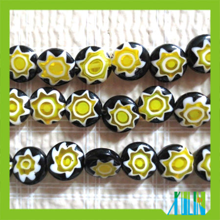 cheap print yellow star glass beads flat round millefiori beads
