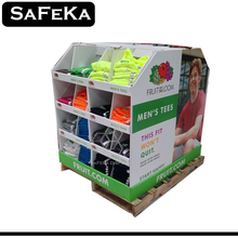 Pop Promotion Merchandising Store Supermarket Floor Point Of Sale full pallet shipper cardboard T shirt display with cells