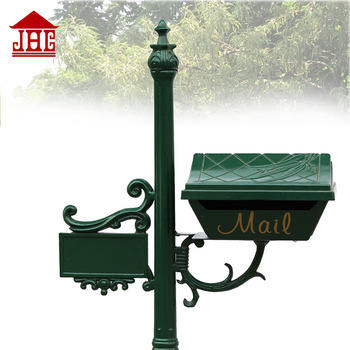 JHC-1028 Antique Post Mounted Letterbox mailbox/garden post standing mailbox/Cream post mounted letterbox mailbox