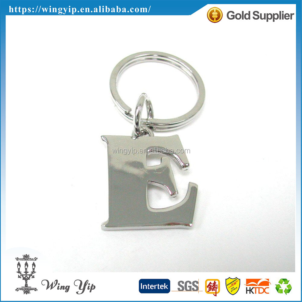 OEM and ODM trendy Letter E Alphabet Metal Promotion Key Chain
