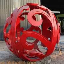 Outdoor Red Painted Hollow Metal Ball Garden Stainless Steel Sculpture