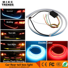 New Arrival 120cm Flexible Dual color flowing DRL Car Rear Tail LED Trunk Strip Light with Brake TurnSignals Flash Warning
