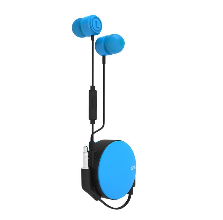 Red retractable earphones round winder earbuds retractable earphones for phone accessories