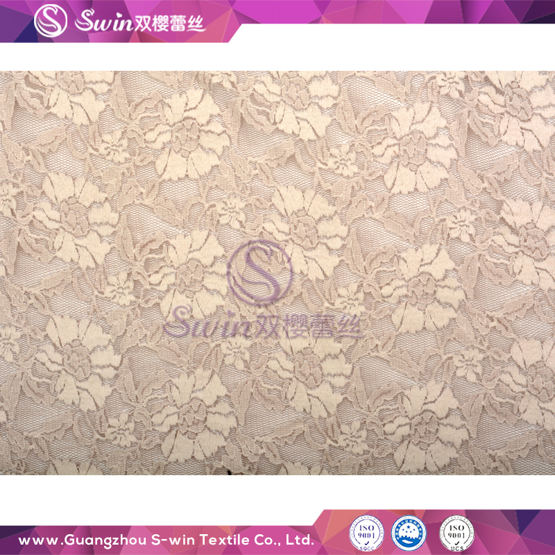 High Quality Gray Color Tricot Style Jacquard Lace Fabric Nylon Spandex Net Fabric
