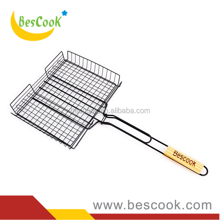 Custom made metal non stick coated outdoor BBQ grill basket