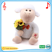 30cm singing and dancing white sheep puppet holding sunflower electric animal cuddle toys