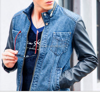 New Collection Fashion Mens Denim Jacket With PU Leather Sleeves