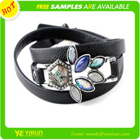 Factory direct price high quality rhinestone antique silver chain crystal leather bracelet